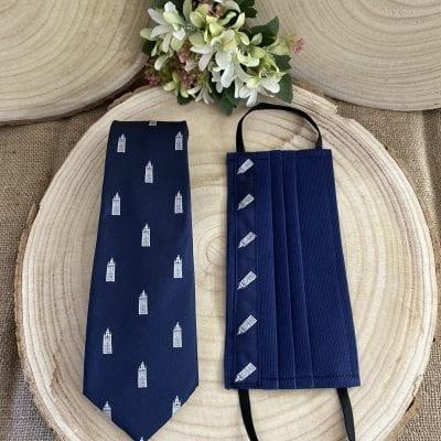 Conjunto de corbata y mascarilla de la Giralda de Sevilla.La Casa Del Cofrade