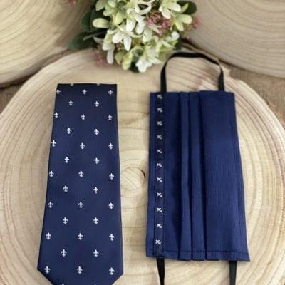 conjunto de mascarilla y corbata flor de lis La Casa del Cofrade