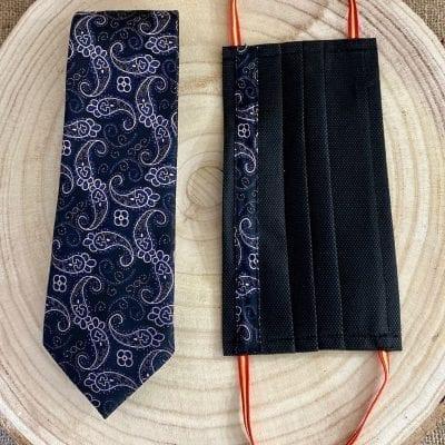 Conjunto de corbata y mascarilla de cachemir en negro La Casa Del Cofrade