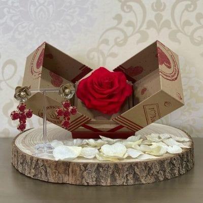 Conjunto 3 rosa preservada y pendientes