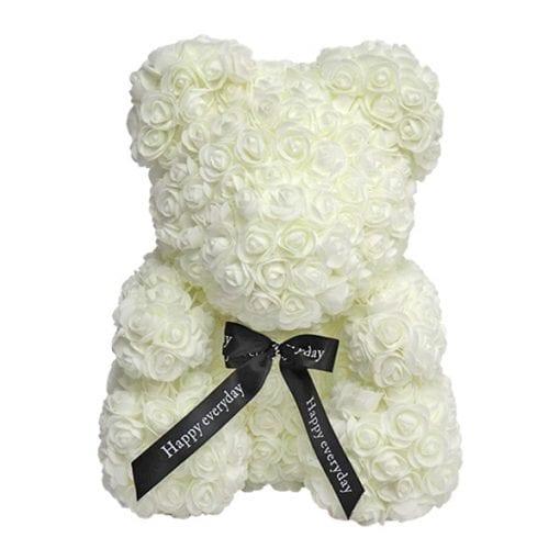 oso de rosas blanco