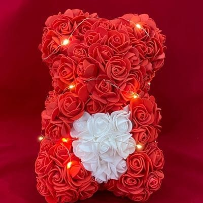 oso foam con rosas y luces led